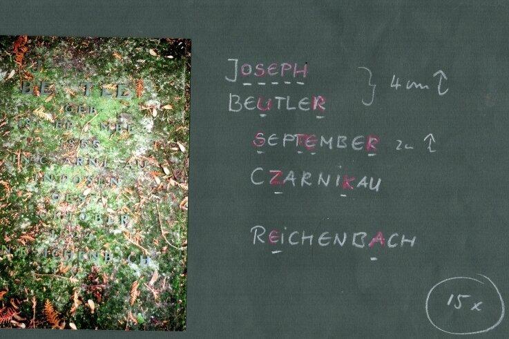 Der Rößnitzer Metall- und Emaille-Gestalter Peter Luban hat zur Ergänzung der fehlenden Buchstaben am Grab von Joseph Beutler in Plauen bereits Vorarbeiten geleistet.
