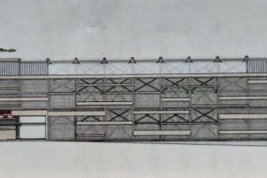 Von der Erlaer Straße aus stellen sich die Planer die Ansicht des Parkhauses so vor. Links befinden sich die Ein- und Ausfahrt.