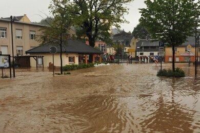 Land unter hieß es 2013 auch in Thalheim, wo der Zwönitzfluss überlief.