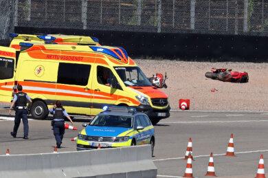 Der Unfall ereignete sich am Ende der Start-Ziel-Geraden.