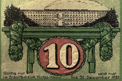 """Jetzt wiederentdeckt: Die Göltzschtalbrücke war schon einmal Motiv auf einem offiziellem Zahlungsmittel. Und zwar auf Notgeld, das lediglich im """"Stadtbezirk Netzschkau"""" Geltung hatte. Die Brücke mit darüber dampfender Lok ging dergestalt von 1919 bis 1921 von Hand zu Hand."""