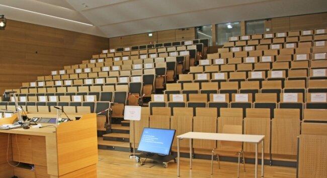 Der Hörsaal im neuen Schloßplatzquartier. Er soll zusätzlich zum Lehrbetrieb für akademische Veranstaltungen, Kongresse und Tagungen genutzt werden.
