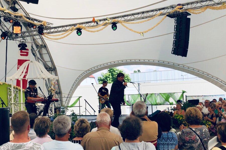 Frank Schöbel trat am Sonntag auf der Laga in Frankenberg auf.