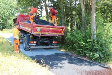 Den durch Forstarbeiten beschädigten Radweg zwischen Berthelsdorf und Lichtenberg hat eine Firma hergerichtet und mit Split belegt.