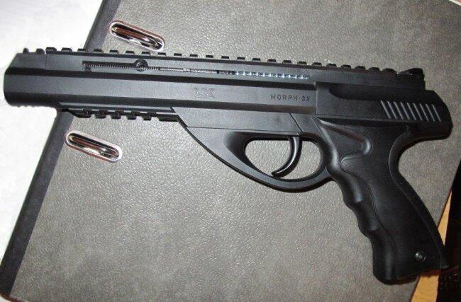 Eine der Gasdruckpistolen, die der mutmaßliche Täter benutzte.