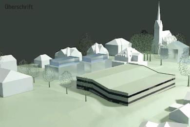 Ein Zeichnung der geplanten Stellplatzanlage, die sich mit begrüntem Dach und Halbgeschossen in die leichte Hanglage einfügt. Vorn rechts die Bebauung am Pfarrweg, in schwächerer Farbe angedeutet sind bereits mögliche neue Wohnbebauung an der Hagerstraße und am Kirchplatz in Nachbarschaft von Trinitatiskirche, Rathaus und Sparkasse.