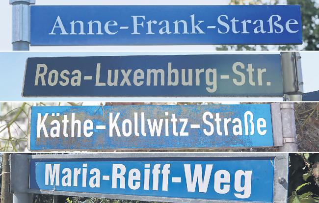 Vier Namen aus vier Städten des Landkreises: Straßenschilder in Zwickau-Marienthal, Glauchau, Werdau und Hohenstein-Ernstthal (von oben).