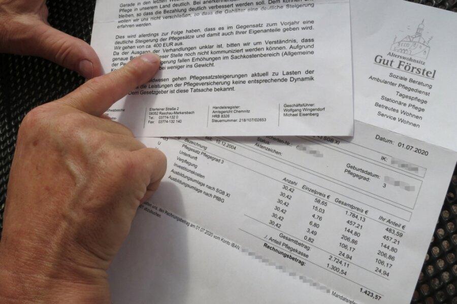 Blick auf eine aktuelle Abrechnung für einen Pflegeheimplatz Pflegegrad 3 und die Ankündigung der möglichen Erhöhung um weitere 400 Euro nach den Pflegesatzverhandlungen.