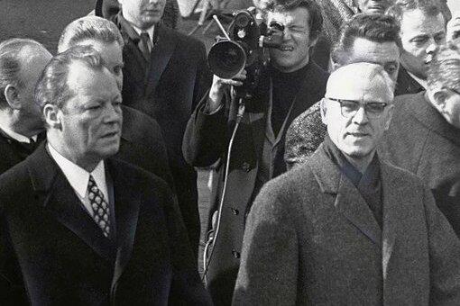 Willy Brandt (l.) und Willi Stoph bei ihrem Treffen in Erfurt.