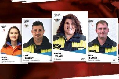Im Stile traditioneller Fußballsammelbilder präsentieren sich die Feuerwehren aus Oelsnitz, Neuwürschnitz und Lugau. Die Einsatzkräfte sowie die Kinder- und Jugendfeuerwehrmitglieder sind dabei die porträtierten Stars.