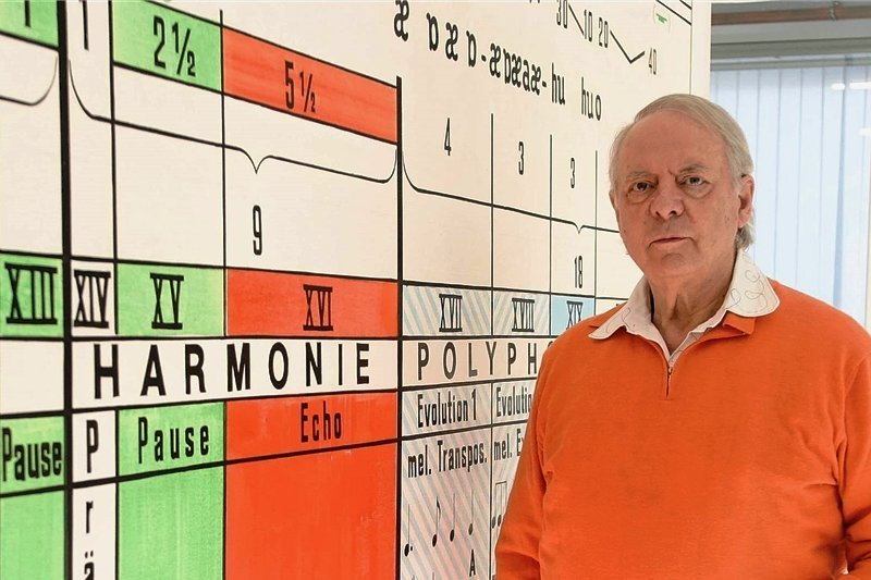 Karlheinz Stockhausen (1928 - 2007) vor der grafischen Darstellung eines seiner Stücke. Als einer der bedeutendsten deutschen Komponisten des 20. Jahrhunderts spaltete er Publikum wie Kritiker.