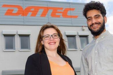 Lisa Laue und Saad Eddin Ayoubi arbeiten nun in der Firma Datec.