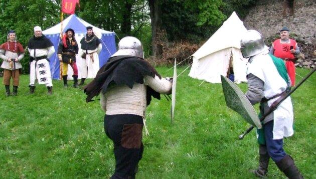Beim mittelalterlichen Kräftemessen auf dem Gelände der Schlossruine Hartenstein ging es in erster Linie um Spaß an den alten Kampfkünsten.