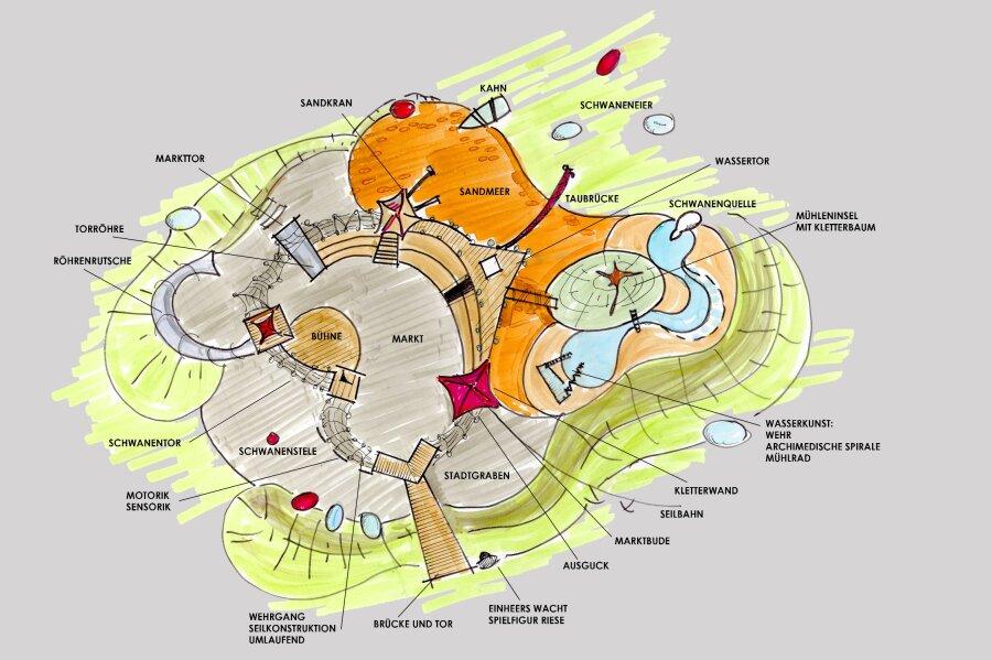 Der neue Spielplatz im Schwanenteichpark soll eine ummauerte Stadt darstellen.