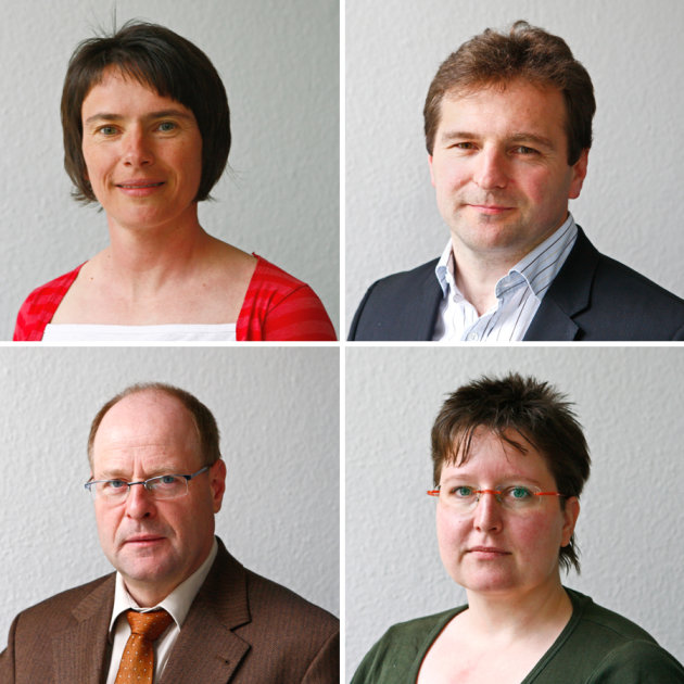 Oben: Claudia Neese, Sporttherapeutin und Dr. Jens Gerth, Nierenspezialist und Chefarzt; unten: Prof. Johannes Schweizer, Herzspezialist und Chefarzt sowie Romy Barth, Ernährungsberaterin.