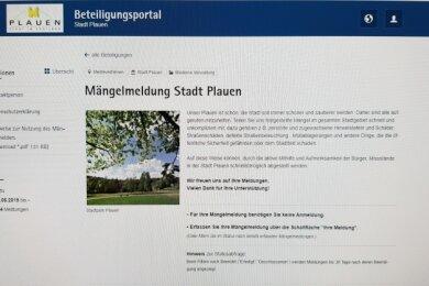 Das ist er: der Mängelmelder auf der Plauener Homepage.