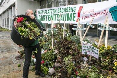 Stephan Lichtenstein, Geschäftsführer von Leitermann, beim Protest in Dresden.
