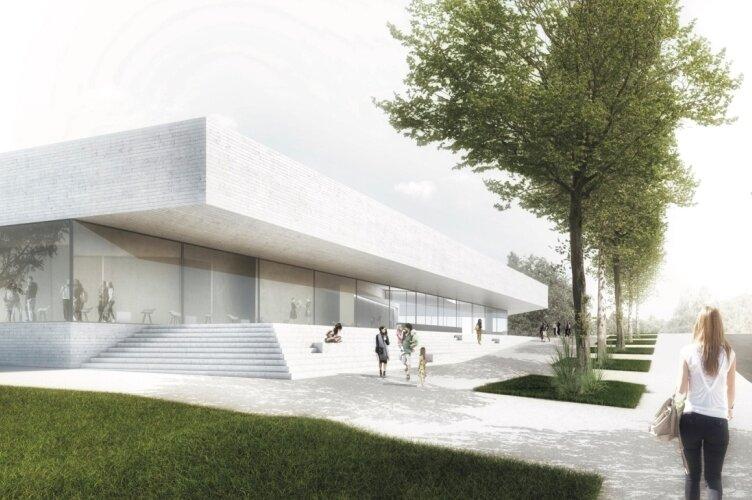 Mit diesem gemeinsamen Entwurf haben die beiden Dresdner Büros Code Unique Architekten und Storch Landschaftsarchitektur den Architekturwettbewerb für ein neues Hallenbad neben dem Freibad in Bernsdorf gewonnen.