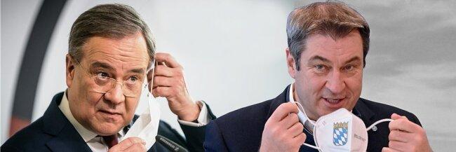 Einer von beiden soll Kanzlerkandidat der Union werden: Armin Laschet (links), Ministerpräsident von Nordrhein-Westfalen (CDU), oder Markus Söder, Landeschef in Bayern (CSU).