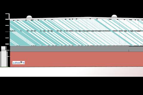 Der Entwurf der Freiberger Planungsgesellschaft Phase 10. Er war aus Kostengründen abgespeckt worden, unter anderem fiel ein Dachaufbau als Zierelement weg und die Dachträger werden kürzer.