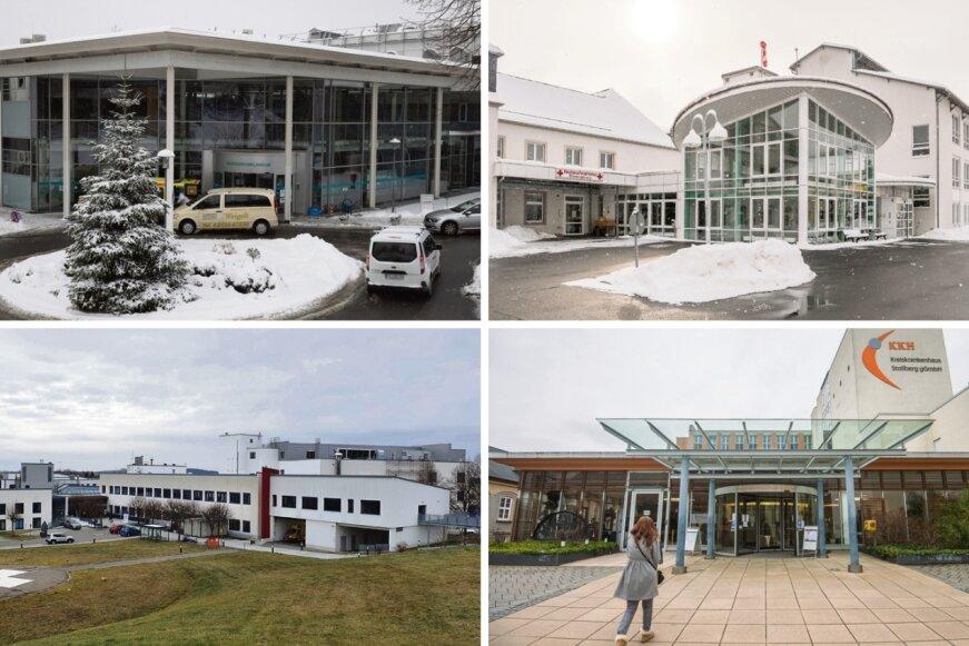 Das Erzgebirgsklinikum Annaberg (oben links), das Kreiskrankenhaus Stollberg (unten, rechts) und das Klinikum Mittleres Erzgebirge mit seinen Häusern in Zschopau (unten, links) und Olbernhau (oben, rechts) sollen fusionieren.