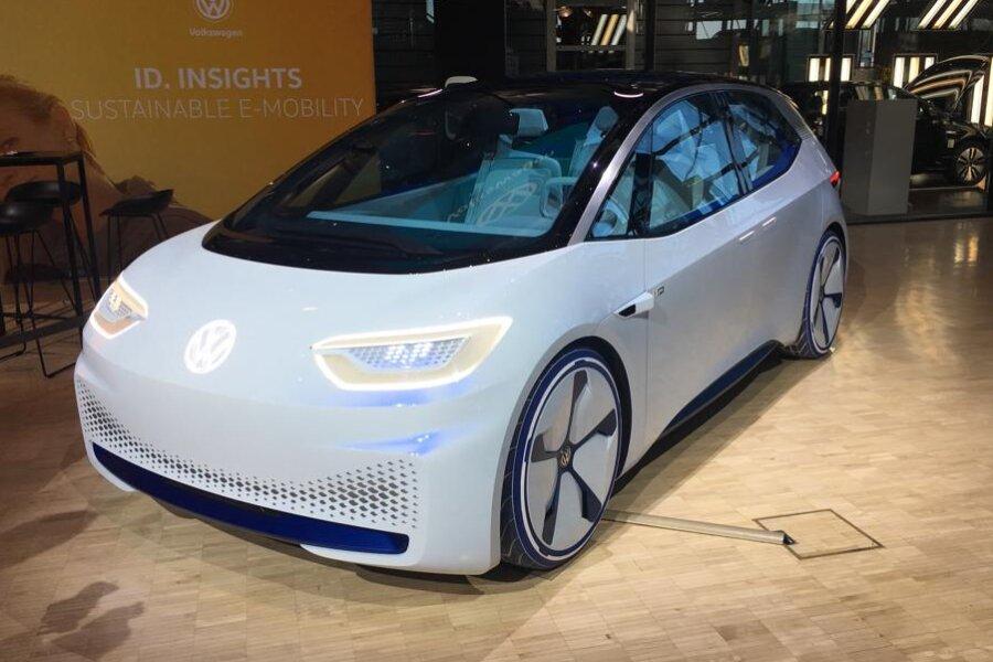 So soll der VW I.D. - ein Auto mit rein elektrischem Antrieb - aussehen. Ab Ende 2019 wird er in Zwickau produziert.