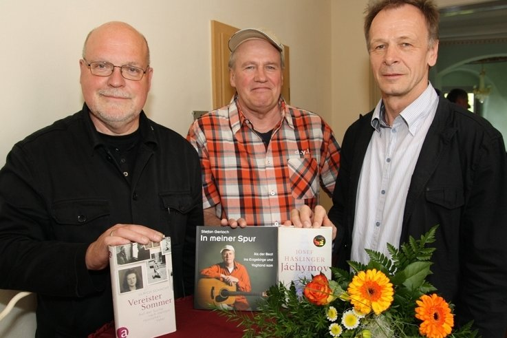 Literaturpreisträger 2012: Ulrich Schacht aus Schweden, Stefan Gerlach aus Zwönitz und Josef Haslinger aus Wien (v. l.).