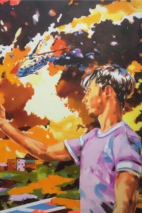 """Ganz im Hier und Heute: Norbert Biskys Gemälde """"Influencer"""". 2021, Öl und Aerosol auf Leinwand, 240 x 180 Zentimeter, ist zurzeit in Leipzig zu sehen."""