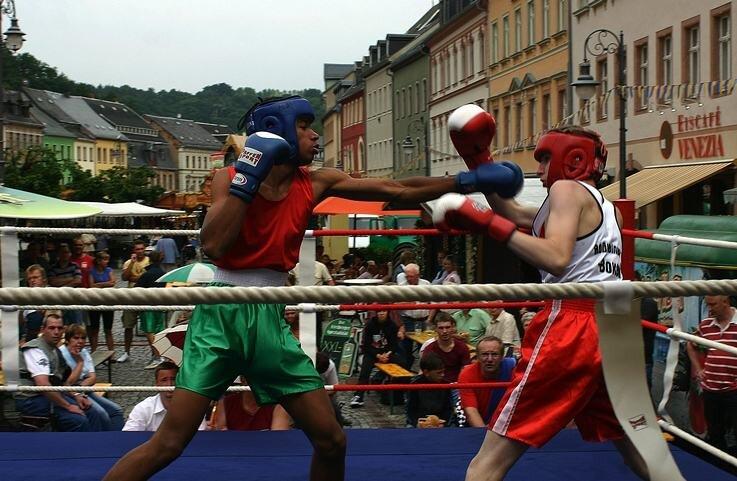 """<p class=""""artikelinhalt"""">Joshua Schröter (l.) vom Boxsportverein Eilenburg und Robert Naumann vom Roßweiner Sportverein lieferten sich im Ring einen spannenden Kampf, in dem der Roßweiner unterlag.  </p>"""