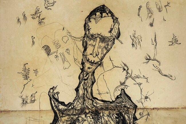 """""""Ecce Homo: Sterbender Krieger"""" von Gerhard Altenbourg aus dem Jahr 1949. In dem 135 Zentimeter hohen Blatt verarbeitet der Künstler auch seine Kriegserlebnisse."""