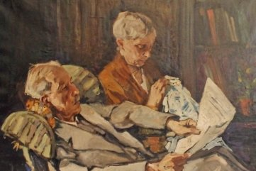 Das Gemälde von Walter Stengl zeigt Heinrich Braun und dessen Frau.