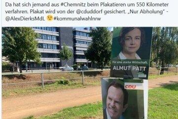 Twitter-Nachricht zum Chemnitzer Plakat in Düsseldorf.