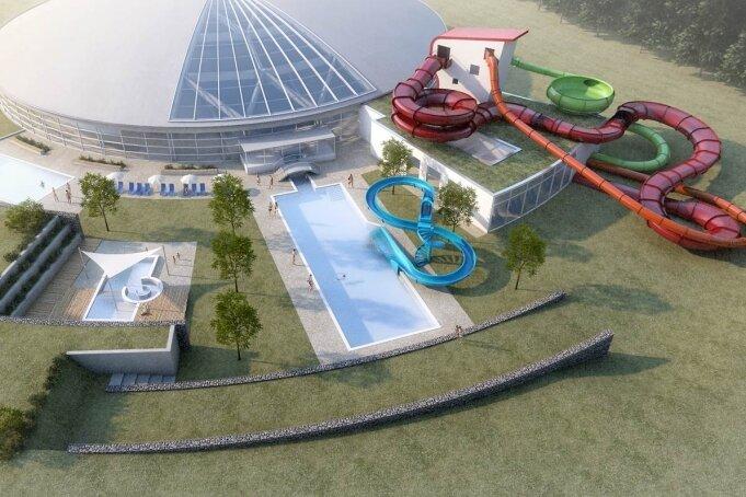 Das Freizeitbad Greifensteine kann ein geplantes Millionenprojekt wirklich umsetzen. Für eine Modernisierung wurden rund 6 Millionen Euro Fördergeld vom Land bewilligt. Vorgesehen sind etwa neue Becken und Rutschen im Außenbereich, wie dieser Entwurf zeigt.