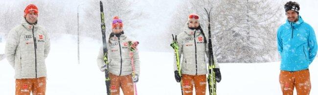 Bundestrainer Lars Lehmann gehört zu denen, die Linda Schumacher und Jessika Löschke in Finnland betreuen. Der Stützpunkttrainer der Mädels, Lars Hänel (v. l.), verfolgt die Läufe in Vuokatti vom Erzgebirge aus.