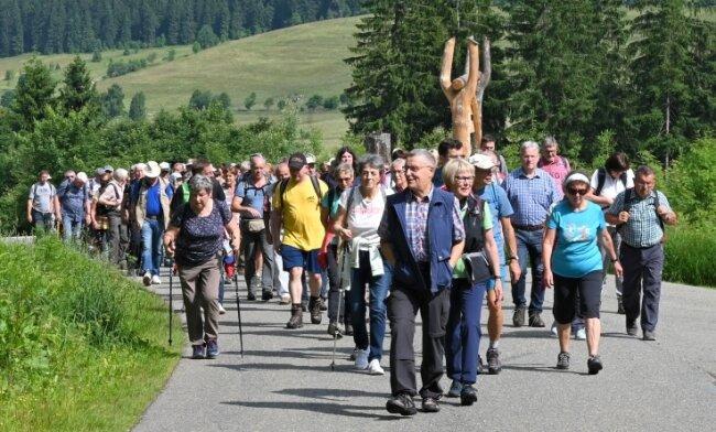 Die Sommerwanderung führte am Sonntag die zahlreichen Teilnehmer rund um die Talsperre Carlsfeld.