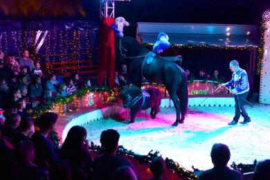 2019 bot der Freiberger Weihnachtszirkus im Zirkuszelt auf dem Häuersteig Akrobatik und Tierdressuren - im Bild Armando Renz bei einer Pferdedressur. Doch 2020 fiel die Veranstaltung coronabedingt aus.
