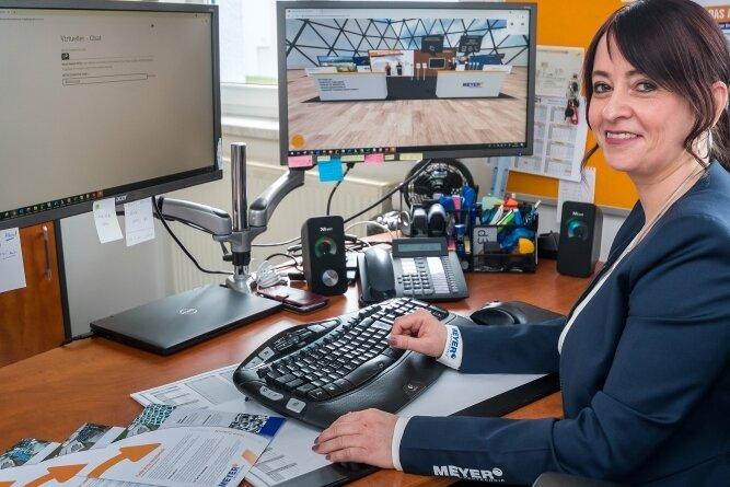 Personalleiterin Nadja Hahn vertrat bei der virtuellen Ausbildungsmesse die Marienberger Firma Meyer Drehtechnik.