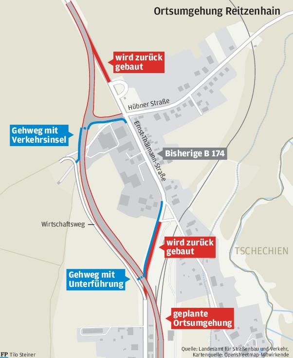 Freistaat stellt neuen Trassenverlauf die Ortsumgehung Reitzenhain vor