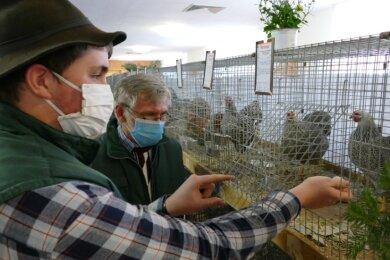Der Drebacher Jonas Baldauf (l.), der zu den jüngsten Kollegen des Vereinsvorsitzenden Johannes Sack gehört, durfte sich im Laufe der Schau auch über das eine oder andere Ei freuen, das seine Hennen legten.