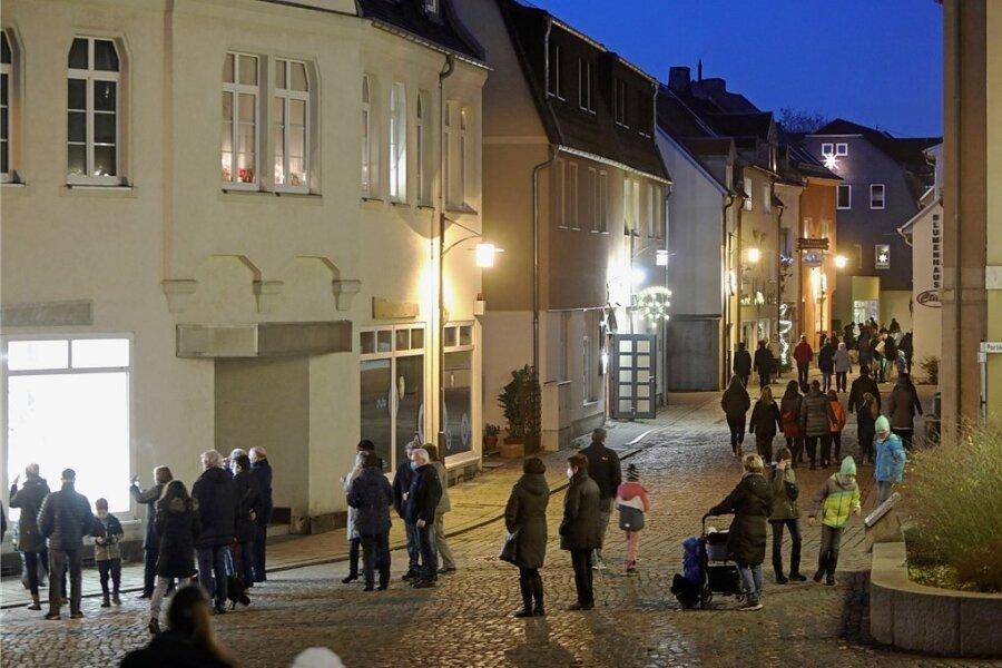 So sah es trotz hartem Lockdowns allabendlich während der Funkel-Fenster-Aktion in der Lichtensteiner Innenstadt aus.