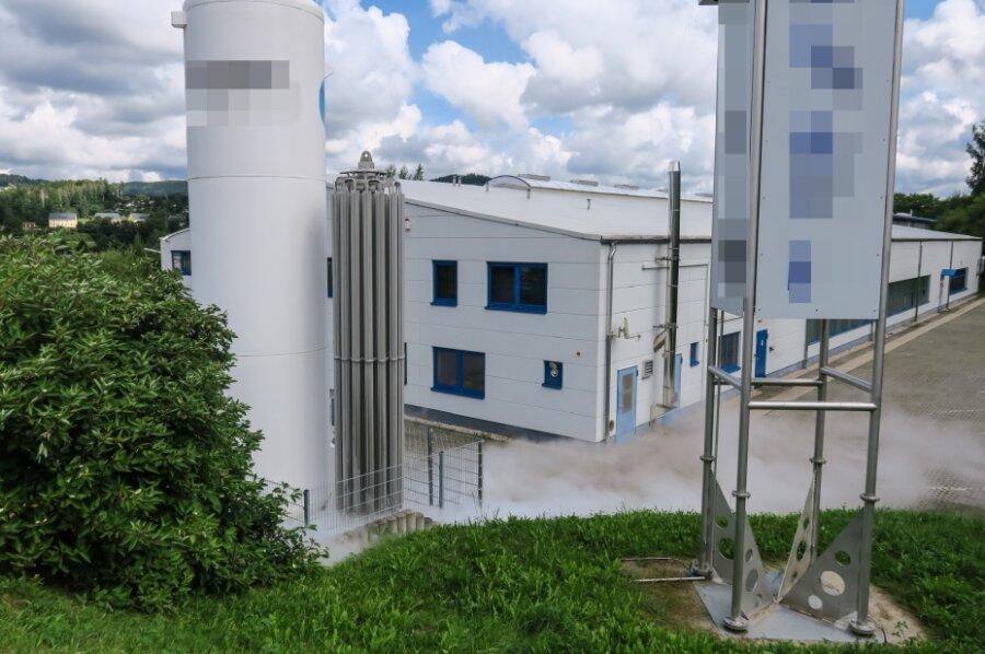 Stickstoff-Leck in Schwarzenberg - Firmengelände voller Nebel