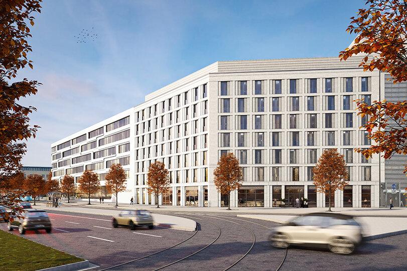 Ansicht des geplanten Hotels am Stefan-Heym-Platz, das zwischen dem Archäologiemuseum und dem Eins-Firmensitz gebaut wird.
