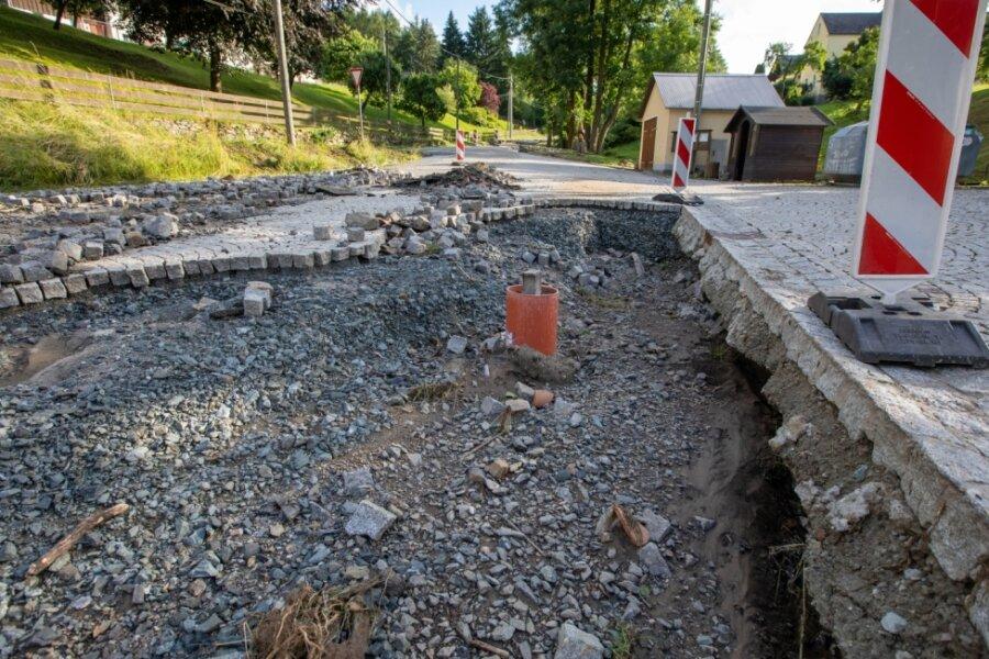 Wasser beschädigt Teilstück der Ortsdurchfahrt Ruderitz