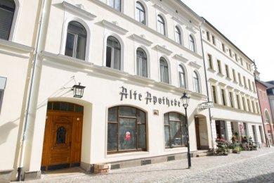 Die alte Apotheke an der Herrenstraße. Hinter diesen Mauern sind 423 Jahre lang Medikamente hergestellt worden.
