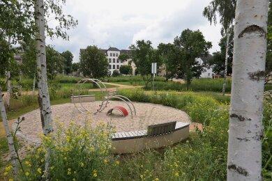 So präsentiert sich derzeit der Scherbergpark an er Heinrich-Heine-Straße/Ecke Schlachthofstraße, den die Stadt Glauchau für 466.000 Euro anlegen ließ.