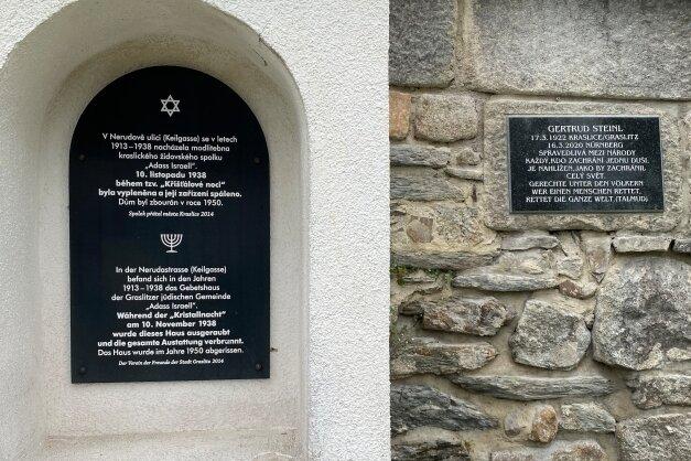 Gedenktafel in Kraslice für Gertrud Steinl neben dem kleinen jüdischen Denkmal in der Neruda-Straße.