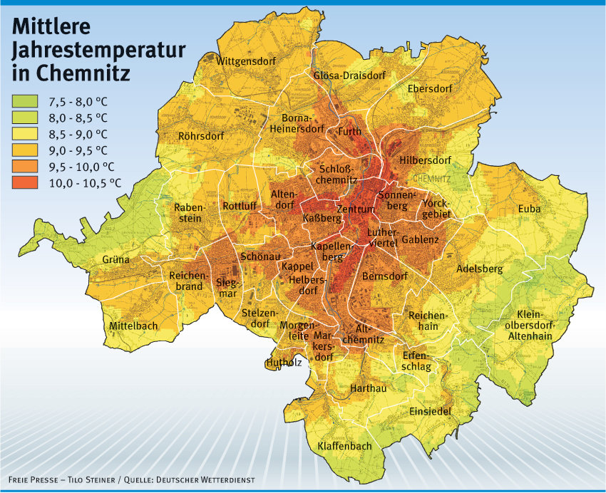 Wo es in Chemnitz am heißesten ist