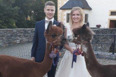Thomas und Anika Süß heirateten im Wasserschloß Klaffenbach mit Alpakas an ihrer Seite.