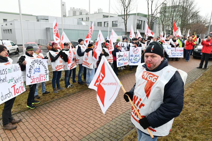 Warnstreik in der Molkerei Hainichen-Freiberg