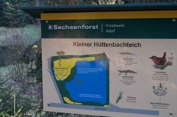Auch am Kleinen Hüttenbachteich steht eine der neu gestalteten Tafeln des Lehrpfades.
